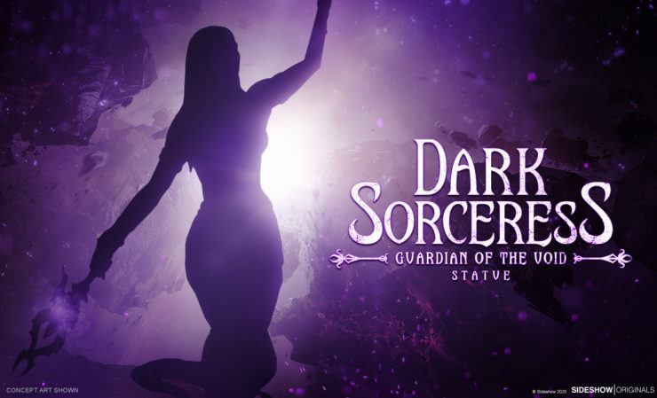 Dark Sorceress Statue Preview with Silhouette Render