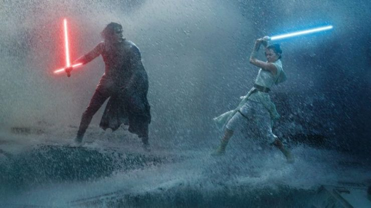 Rey and Kylo Ren in a Lightsaber Battle in Star Wars: The Rise of Skywalker