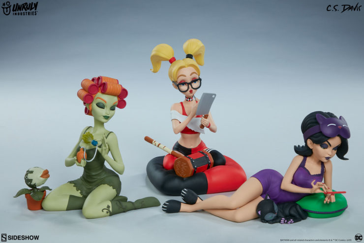 It's Girls' Night in Gotham with the Unruly Industries™ Catwoman, Harley Quinn, and Poison Ivy: Sleepover Sirens Designer Collectible Toy Set