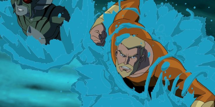 Aquaman from Young Justice pushing through the waters