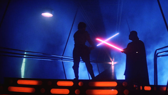 Darth Vader and Luke Skywalker Battling in Cloud City in The Empire Strikes Back