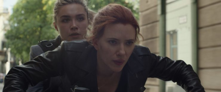 Black Widow and Yelena on a Motorcycle