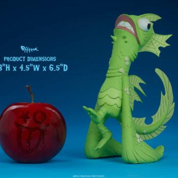 Fish Face Designer Toy size comparison to apple