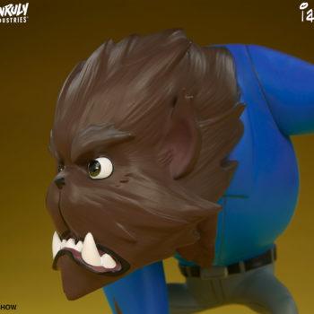 Fur Ball designer toy close up on left side of face
