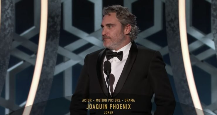 Joaquin Phoenix wins Golden Globe for Best Performance by Actor in Motion Picture, Drama