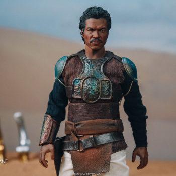 Lando Calrissian Skiff Guard Version Sixth Scale Figure front view helmet off desert in background