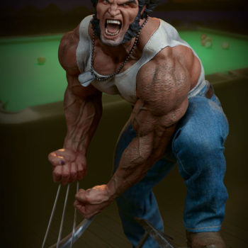 Logan Premium Format Figure looking down view with pool table behind him