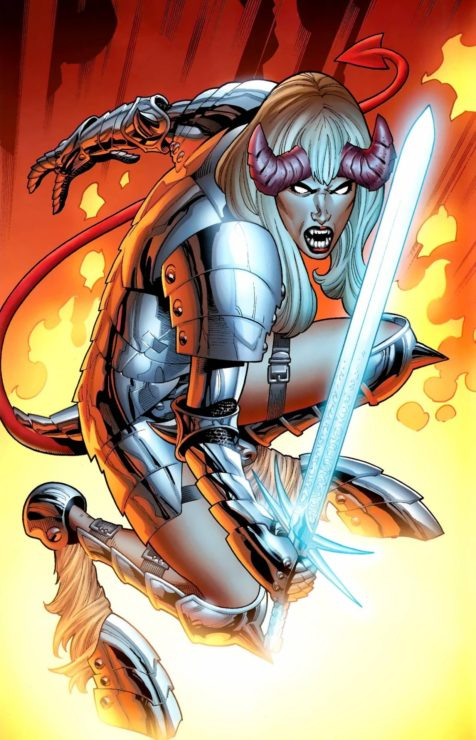 Magik with demon horns and her soulsword and soul armor