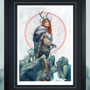 Red Sonja Queen of Hyrkania Fine Art Print Black Frame