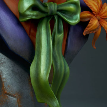 close up on green bowtie on The Joker Life-Size Bust