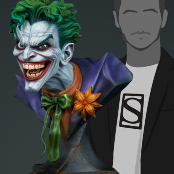 The Joker Life-Size Bust size comparison to a person