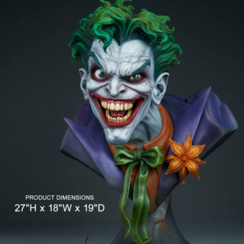 front view of The Joker Life-Size Bust size comparison to an apple