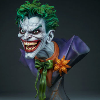 3/4ths left side full view of The Joker Life-Size Bust