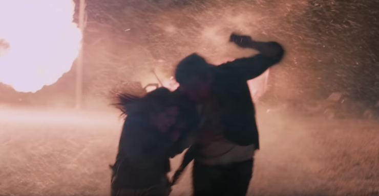 Dani Moonstar and Her Father Running from Flames