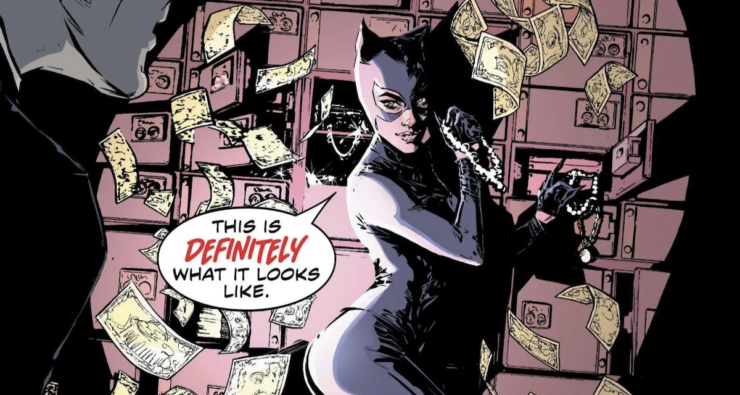 "Catwoman Stealing Jewels with Caption ""This is DEFINITELY what it looks like."""