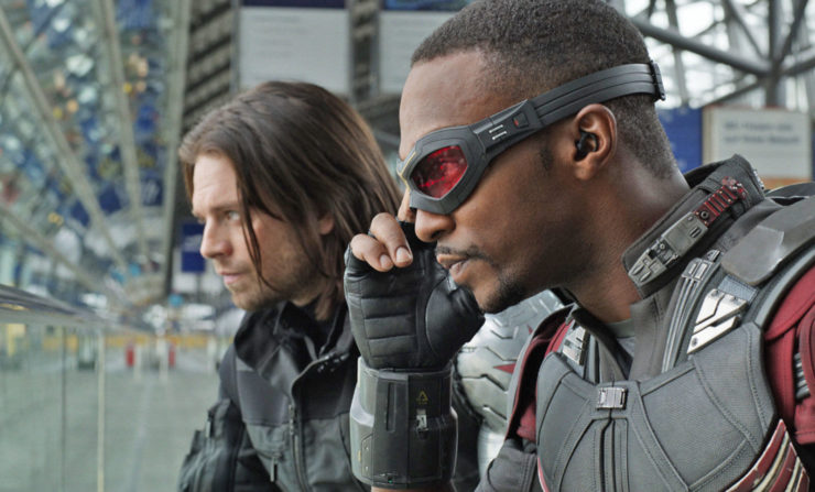 Anthony Mackie and Sebastian Stan as Falcon and Winter Soldier in Captain America: Civil War