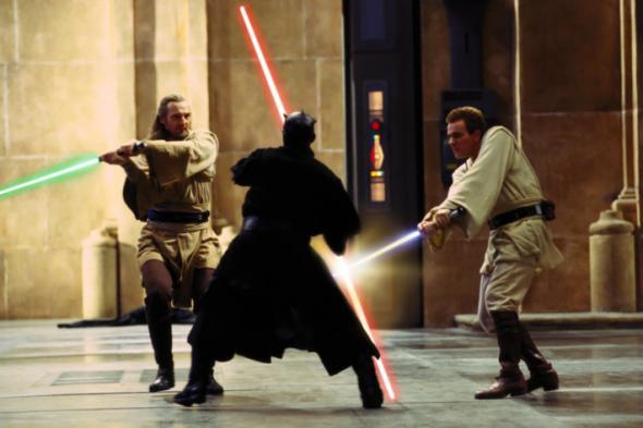 Qui-Gon, Obi-Wan, and Darth Maul in Duel of the Fates