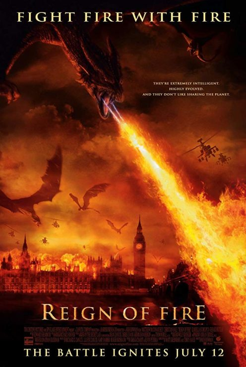 Reign of Fire Movie Poster with Dragons