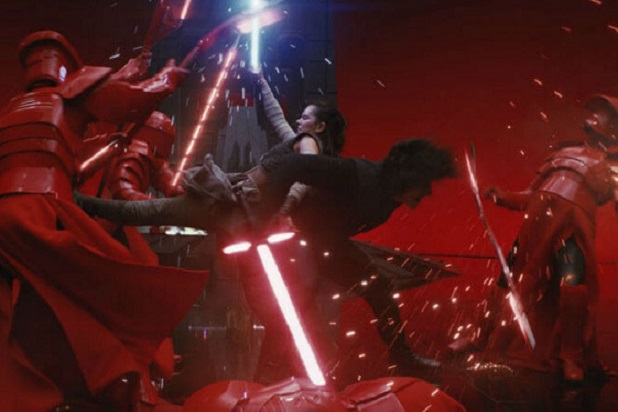 Rey and Kylo Ren Fighting Praetorian Guard in The Last Jedi