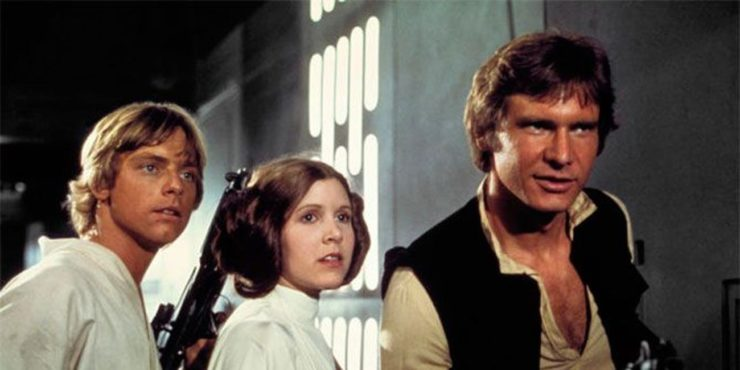 Luke Skywalker, Leia Organa, and Han Solo in Star Wars: A New Hope