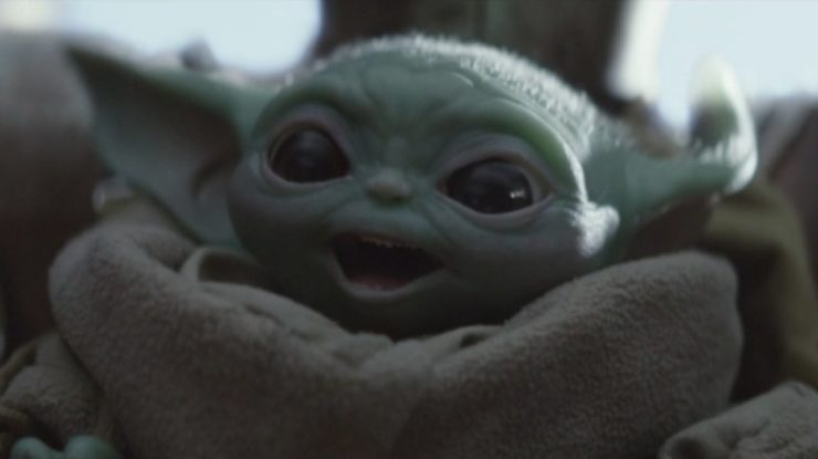 Baby Yoda Smiling from Star Wars: The Mandalorian