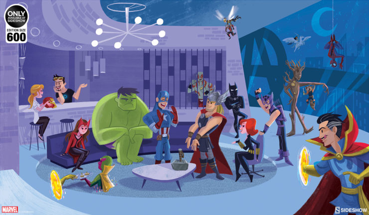 Party at Avengers Tower Fine Art Print by Artist Kat Hudson