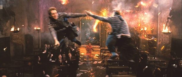 Fred and George Launching Fireworks in the Great Hall