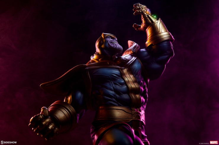 The Thanos Statue Faces the Avengers Assemble Statue Collection