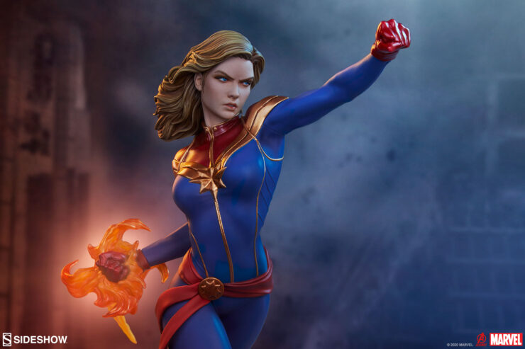The Captain Marvel Statue Joins the Avengers Assemble Statue Collection