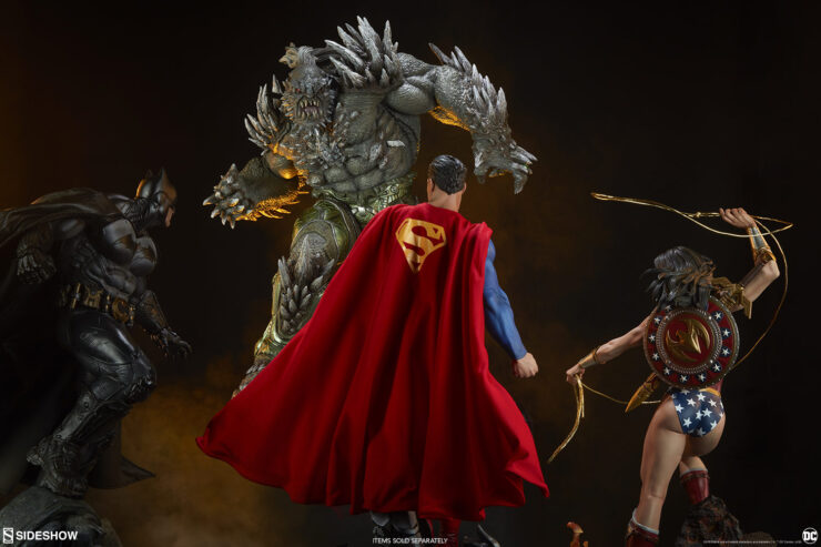 Doomsday Maquette versus Batman, Wonder Woman, Superman