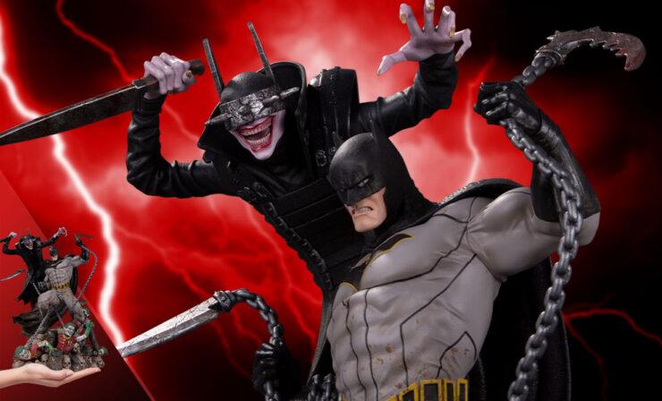 The Batman Who Laughs vs. Bruce Wayne Statue