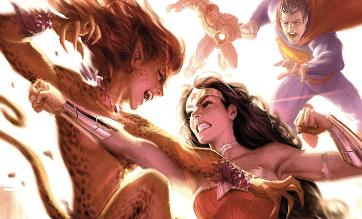 The Justice League: Wonder Woman vs Cheetah Fine Art Print by Artist Alex Garner