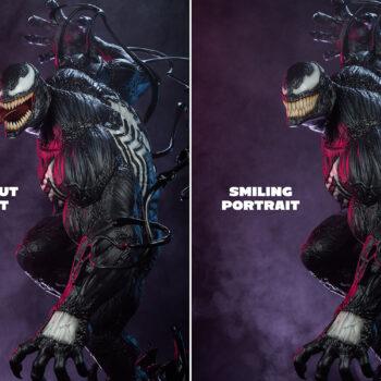 Venom 1:3 Scale Statue - PCS- Smiling Portrait and Open Mouth Portrait