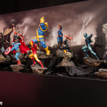 Avengers Assemble statues, featuring Hulk, Black Panter, Wasp, Thor, Captain America, Thanos, Iron Man, Captain Marvel, Black Widow, Iron Man Stealth Suit, Gray Hulk