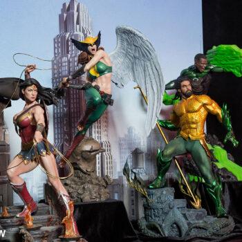 Wonder Woman, Hawkgirl, Aquaman, and John Green Green Lantern Premium Format Figures
