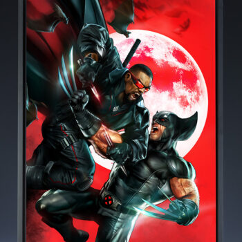 Wolverine Vs. Blade Fine Art Print by artist Dave Wilkins Marvel Sideshow Collectibles