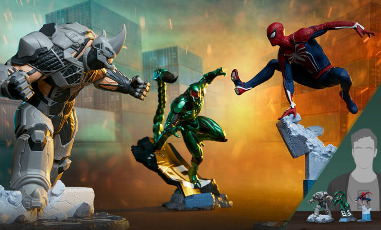 The Spider-Man/Rhino/Scorpion 1:12 Scale Statue Set by PCS Collectibles