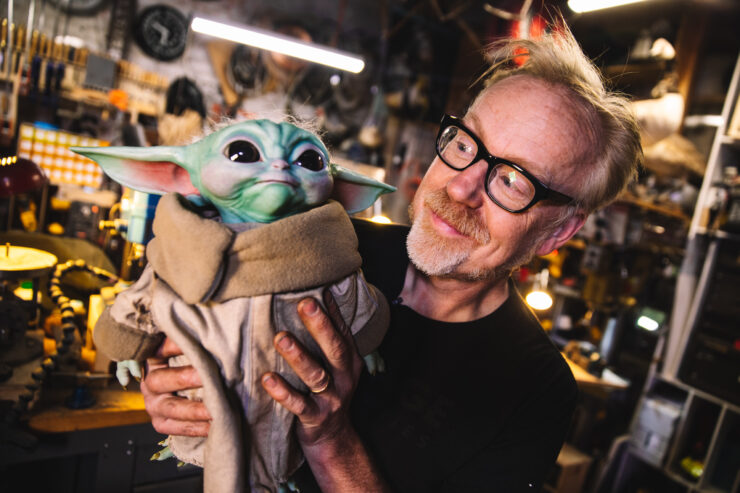 Adam Savage with The Child Life-Size Figure