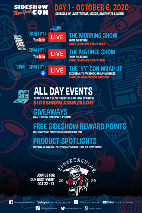 Sideshow Con Day 1 Schedule- October 6th, 2020