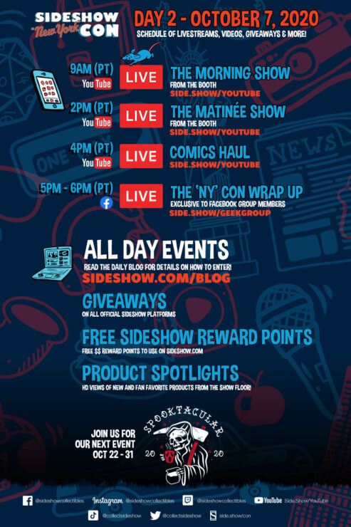 Sideshow Con Day 2 Schedule- October 7th, 2020