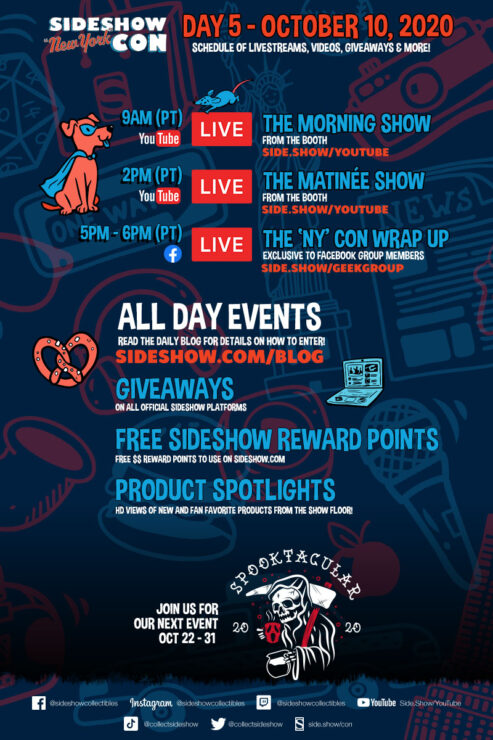 Sideshow Con Day 5 Schedule- October 10th, 2020