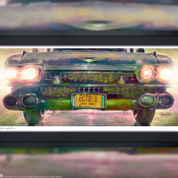 Ecto-1 Fine Art Print by Illustrator Brian Rood Ghostbusters Collectibes White Frame 5