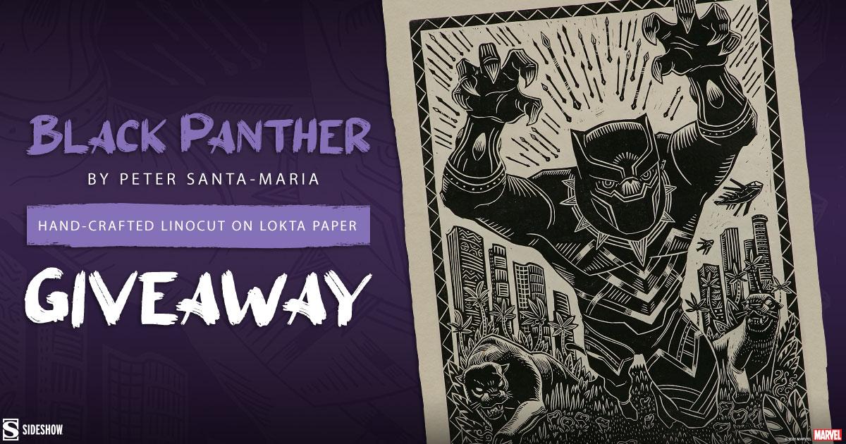 Black Panther Linocut Fine Art Print Giveaway