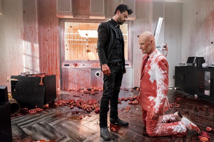 Still of Dominic Cooper and Pip Torrens in Preacher.