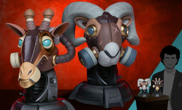 The Ram and Giraffe: Guerilla Squadron Designer Collectible Toy Set by Artist Freehand Profit