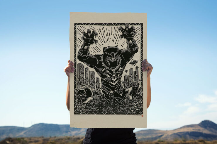 The Black Panther Linocut by Artist Peter Santa-Maria