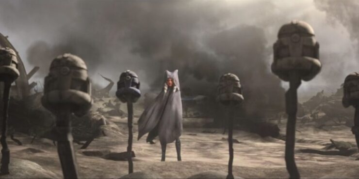 Ahsoka at the grave of her clone comrades