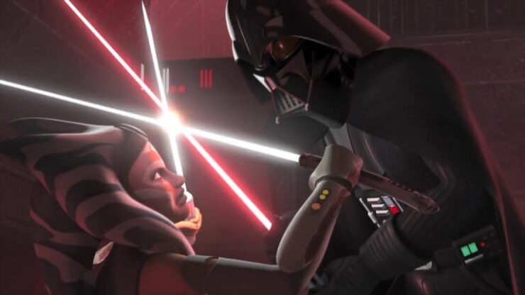 Ahsoka duels with her former master