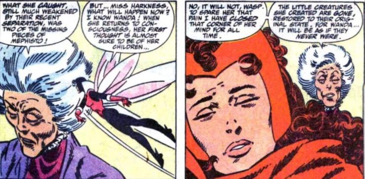 Agatha Harkness erasing Wanda's memories of her sons