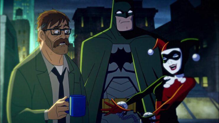 Harley Quinn Batman and Commissioner Gordon